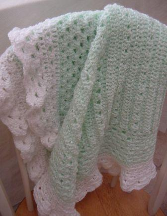 Mint Green & White Crocheted Baby Blanket Item #By004
