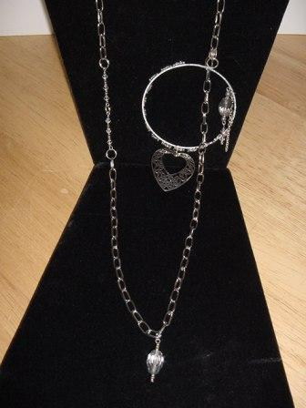 Silver Chain and Hoop w/Crystals, Heart Charm Necklace Item #N049