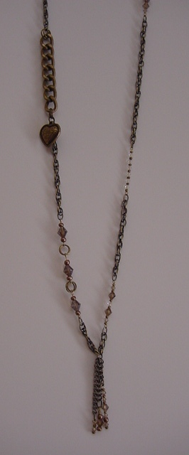 Antique Brass Chain w/Chrystals and Heart Charm Necklace Item #N050