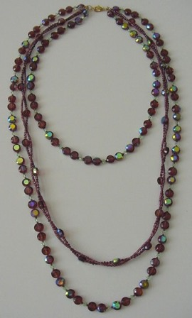 Purple & Peridot Triple Layered & Twisted Beaded Necklace Item #N054