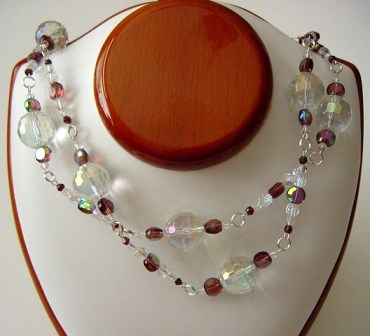 Clear Crystal Balls & Purple Beaded Necklace Item #N056