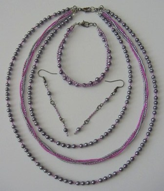 Gray Pearl & Pink Beaded Necklace, Bracelet & Earrings Set Item #NBEs007