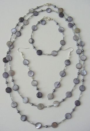Gray Mother Of Pearl, Gray Pearl, & Crystal Beaded Necklace, Bracelet & Earrings Set Item #NBEs009