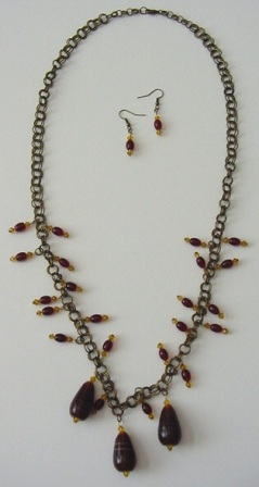 Antique Gold w/Garnet & Amber Beaded Necklace & Earrings Set Item #NEs004