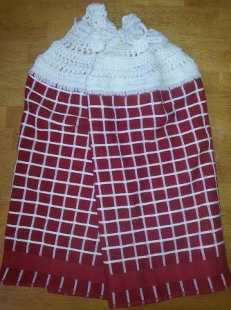 2 Dish Towel Set Red & White Check w/White Top Item # TS007