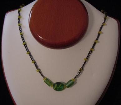 Black w/yellow & green beaded & crocheted necklace - Item #CrN003