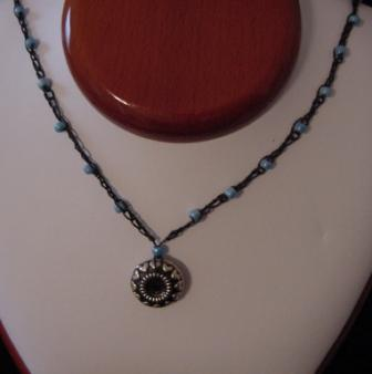 Black w/Light Blue Crocheted & Necklace - Item #CrN011