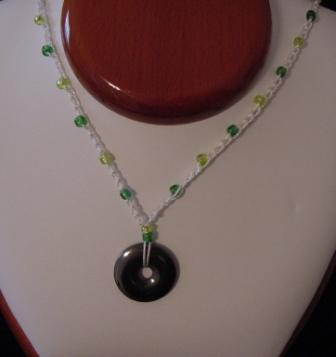 White w/Green & Green Beaded & Crocheted Necklace w/Circle Hematite - Item#CrN013