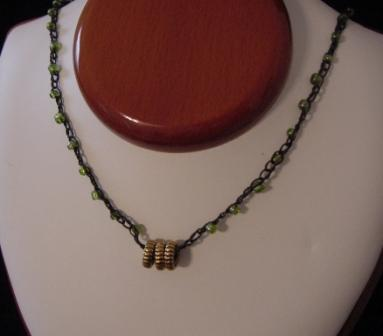 Gray w/Green Beaded & Crocheted Necklace - Item #CrN014