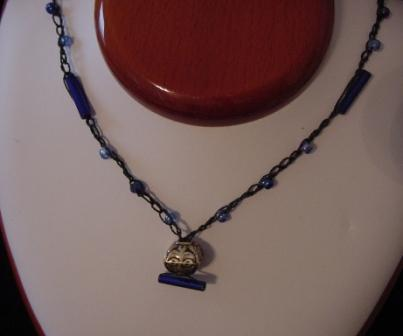 Black w/blue beaded & crocheted necklace