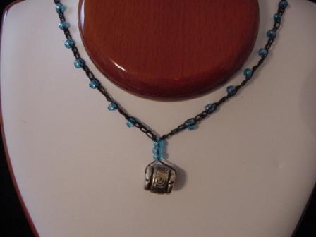 Black w/light blue beaded & crocheted necklace
