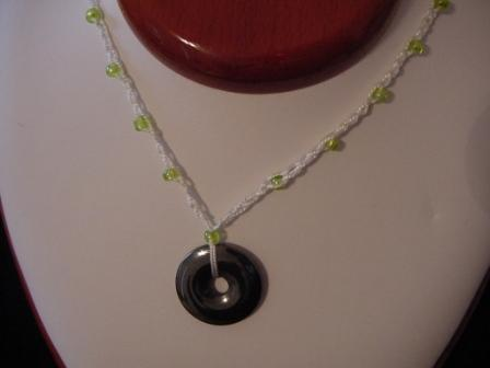 White w/green beaded & crocheted necklace w/circle hematite
