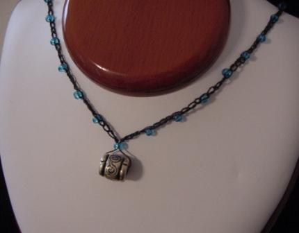 Black w/turquoise blue beaded & crocheted necklace