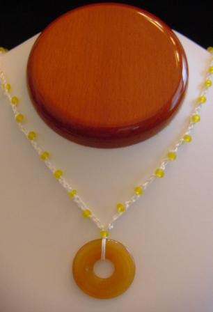 White w/Yellow Beaded & Crocheted Necklace w/Butterscotch Disc Item #CrN034