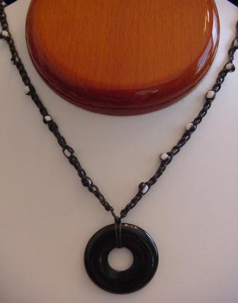 Black w/BlackNwhite Beaded & Crocheted Necklace w/Black Disc Item #CrN035