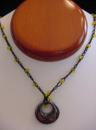Black w/Yellow Beaded & Crocheted Necklace w/Circle Hematite Item #CrN037