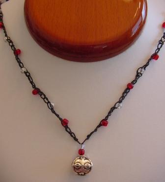 Black w/Red & Clear Beaded & Crocheted Necklace w/Silver Ornament Item #CrN038
