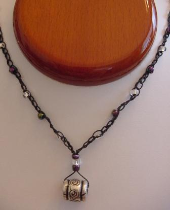 Black w/Clear & Multi Colored Beaded & Crocheted Necklace w/Silver Ornament Item #CrN040