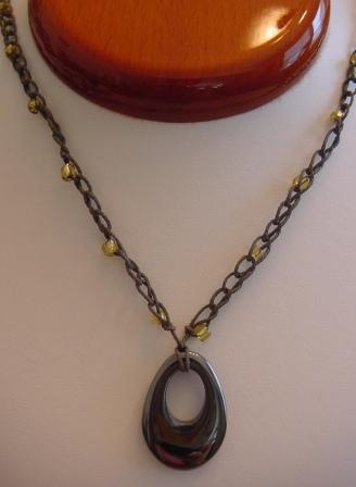 Gray w/Yellow Beaded & Crocheted Necklace w/Oval Hematite Item #CrN041