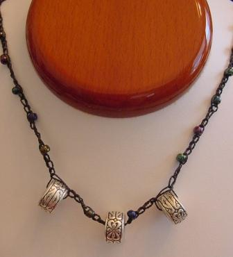 Black w/Multi Colored Beaded & Crocheted Necklace w/Silver Ornaments Item #CrN043