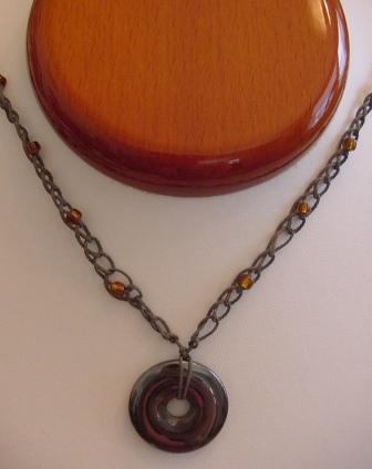 Gray w/Root Beer Brown Beaded & crocheted Necklace w/Circle Hematite Item #CrN048