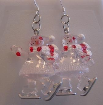 Clear Skating Snow Lady Earrings Item #E-C007