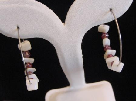 Mother of Pearl Chip and Red Beaded Hoop Earrings
