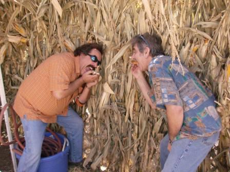 Tom and Greg eating corn at Pumpkin King Blood Drive 2008