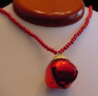 Red Beaded Jingle Bell necklace Item # N-C001