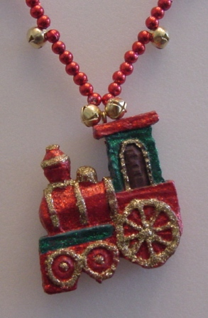 Red Beaded w/Jingle Bells Train Necklace Item #N-C003