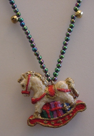 Multi-colored Beaded w/Jingle Bells Rocking Horse Necklace Item #N-C004
