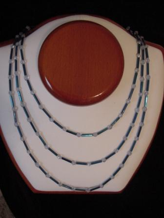 Blue & Clear beaded layered necklace