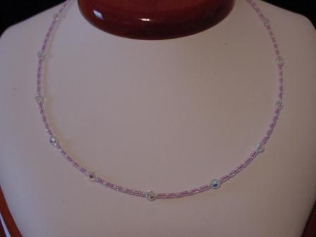 Light purple, white, & crystal beaded necklace