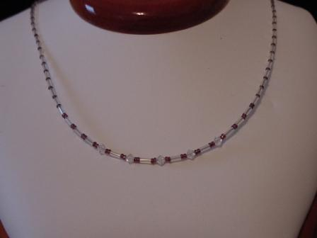 Clear, purple, & crystal beaded necklace