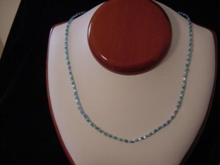 Light blue & white beaded necklace