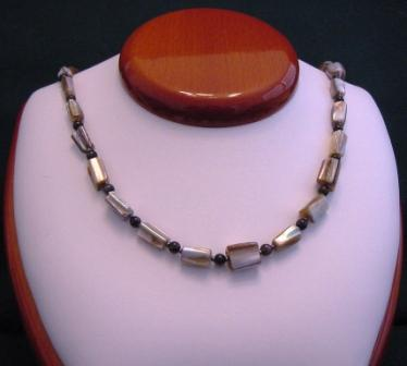 Brown Lip Shell & Black Beaded Necklace - Item #NO16