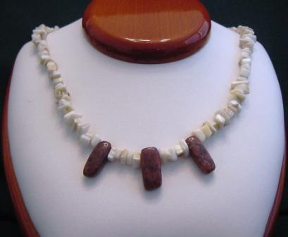 Mother of Pearl & Red Jasper Necklace - Item #NO19