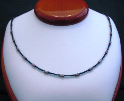 Teal & Gray Beaded Necklace - Item #NO21