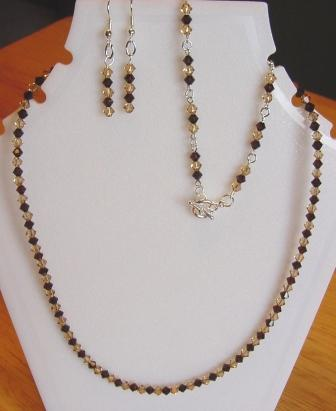 Mocha and Champagne Swarovski Crystal Necklace, Bracelet, and Earrings Set Item #NBEs002