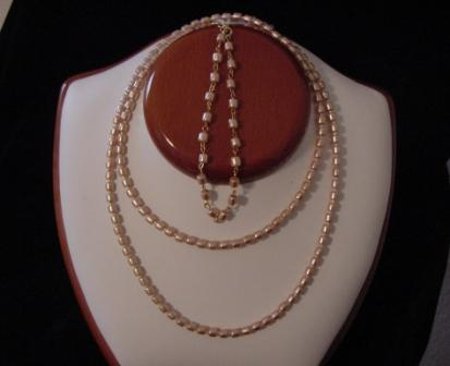 Peach Pearl Beaded Necklace & Bracelet Set-Item #NBs001
