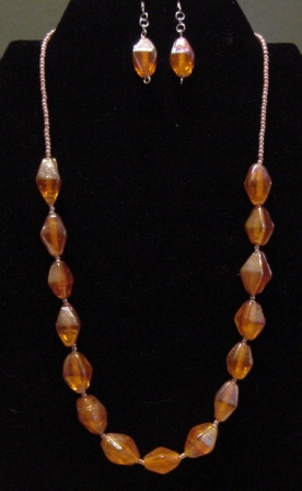 Orange Beaded Necklace and Earrings Set - Item #NEs003
